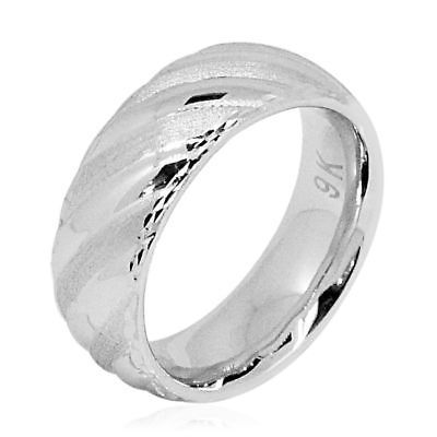 9k White Gold Band Ring Ebay Link Fashion Jewelry