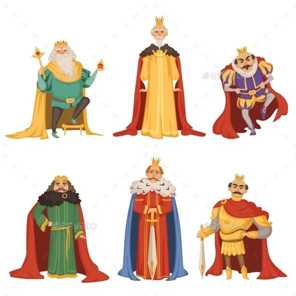Cartoon Characters Of Kings In Different Poses Cartoon Character Costume Big King King Cartoon
