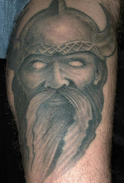 Viking Warrior And Ship Tattoos On Back Shoulder