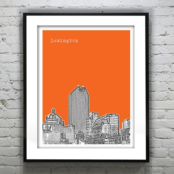Lexington Kentucky Poster Art Print Skyline 8 X by AnInspiredImage, $19.00