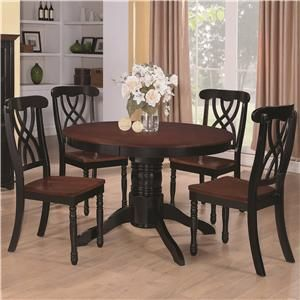 Addison Five Piece Round Single Pedestal Dining Table With Double Waved  X Back