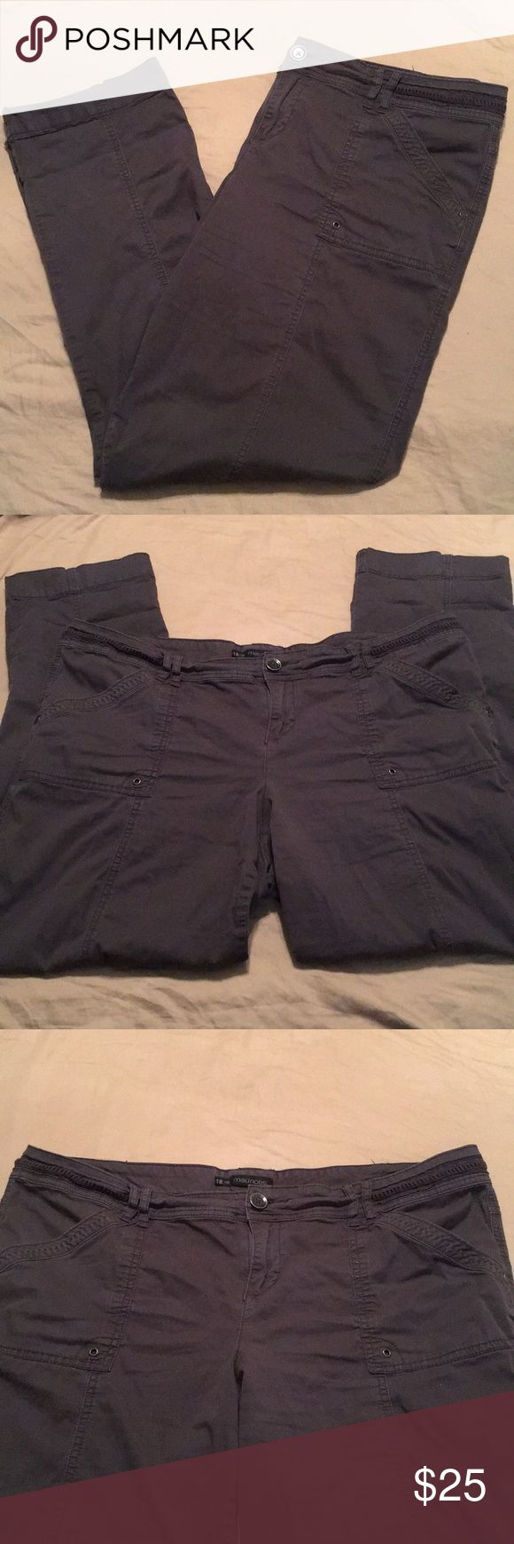 Maurices pants/capris Maurices pants/capris for sale! SZ:18, charcoal gray in color, soft cotton material that feel like khaki/docker pants, worn a handful of times--still in great condition! They are full length pants that have the option to be folded and buttoned into capris (see 5th picture) which makes them perfect for multiple seasons of wearing. Inseam (when full length pants) measures approx. 31in and the capris length would depend on how many times you fold them; leg opening is…