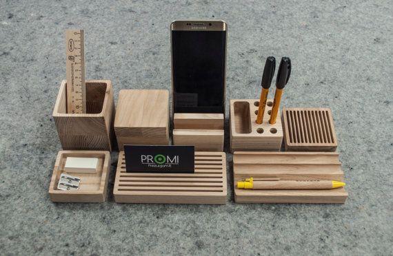 Complete desk organizer YOURSELF  Oak desk by PromiDesign on Etsy