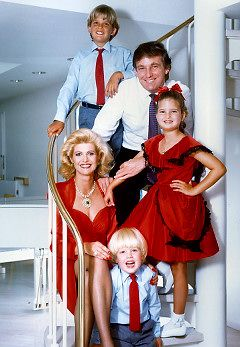 The Donald Trump Family Right : Ivana and Eric Left : Donald Trump Jr., Donald Trump, and Ivanka