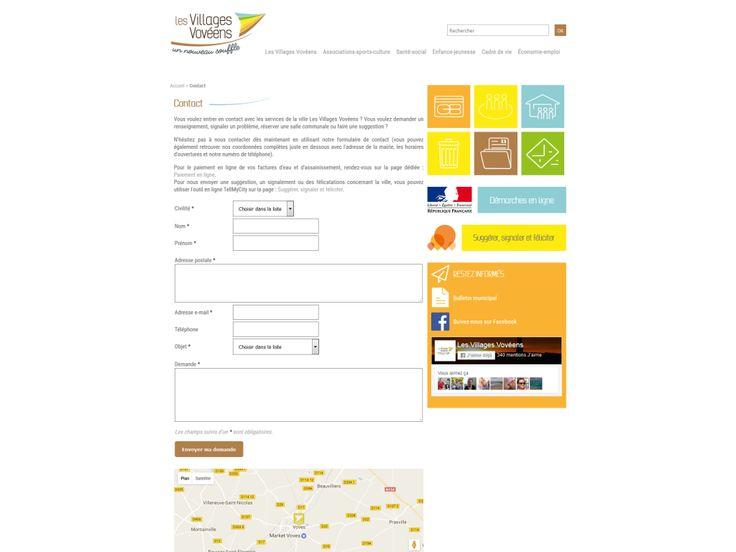 Page contact avec formulaire et carte de localisation Google Maps sur le site internet de la ville Les Villages Vovéens en Eure-et-Loir : http://www.evolutiveweb.com/nos-realisations/site-internet-avec-cmsevolutif-pour-les-villages-voveens-en-eure-et-loir-29.html