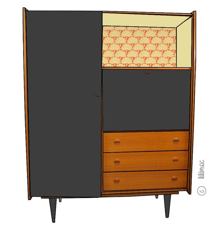 17 meilleures id es propos de bureaux de secr taire peints sur pinterest meubles peints la. Black Bedroom Furniture Sets. Home Design Ideas