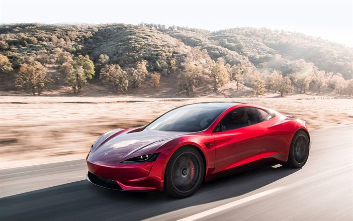 Download wallpapers Tesla Roadster, 2020, sports coupe, red Tesla, electric car, side view, American electric cars, Tesla