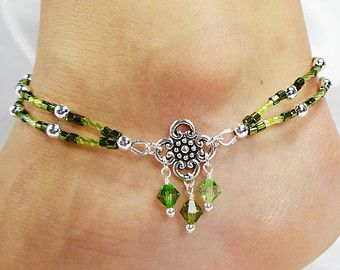 Anklet, Ankle Bracelet, Green Shades, Double Strand, Dangles, Clover Connector, Swarovski Crystals, Czech Glass, Gypsy Beach Vacation Resort