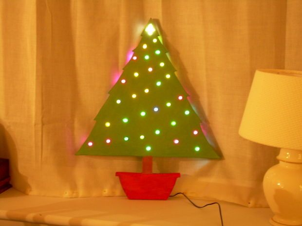 Picture of Wooden Christmas tree with colour-changing lights