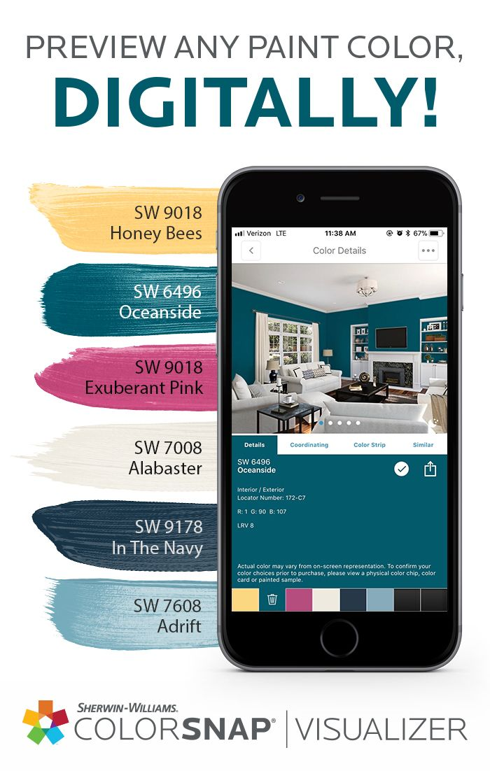 Leap Into Some New Living Room Colors Including Our Color Of The Year 2018 Oceanside Sw 6 With Images Sherwin Williams Paint Colors Paint Color App Matching Paint Colors