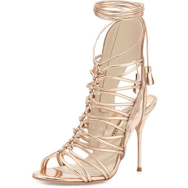 Sophia Webster Lacey Lace-Up Gladiator Sandal (£480) ❤ liked on Polyvore featuring shoes, sandals, heels, rose, high heel sandals, greek sandals, leather sandals, leather gladiator sandals and high-heel gladiator sandals