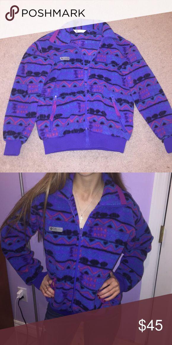 Columbia fleece zip up jacket Aztec print Colombia fleece zip up jacket! Purple with Aztec print. Very cute and comfortable. Women's small Columbia Tops Sweatshirts & Hoodies