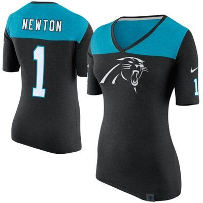 Nike Carolina Panthers Cam Newton Women's Black Starters Only Name and Number T-Shirt