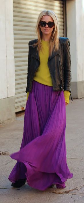 La Diva Pleated Maxi Full Skirt in Violet