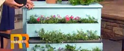 DIY Recycled Garden Dresser (I just LOVE the look of the wood and the flowers.  Very creative!)