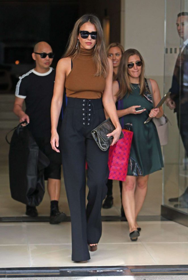 Look for Less: Jessica Alba's New York City A.L.C. Mirella Knit Sleeveless Top and Black Estrada Lace-Up Wide Leg Trousers