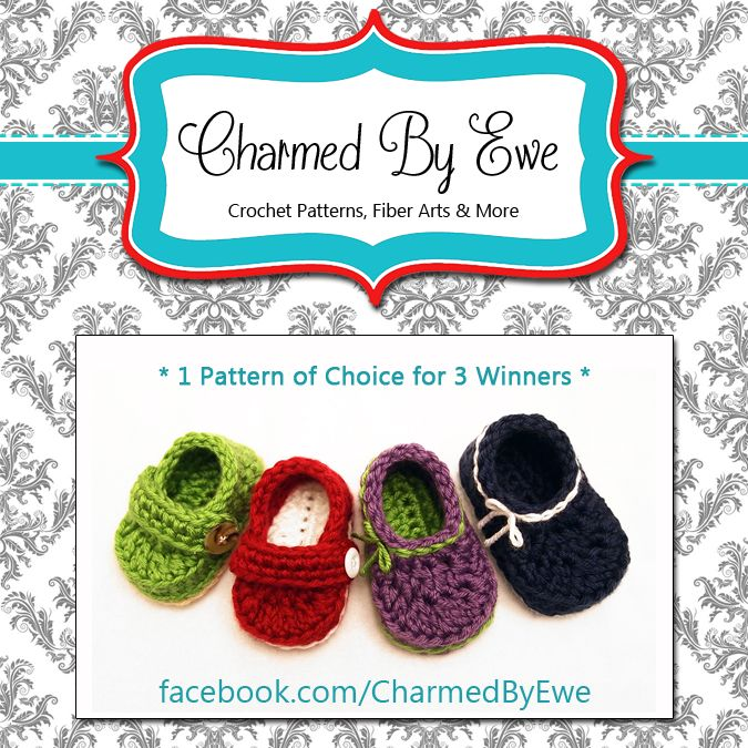 Charmed By Ewe URL: http://facebook.com/CharmedByEwe PRIZE: 3 Winners will receive one digital pattern of choice sent via email or Ravelry Gift.