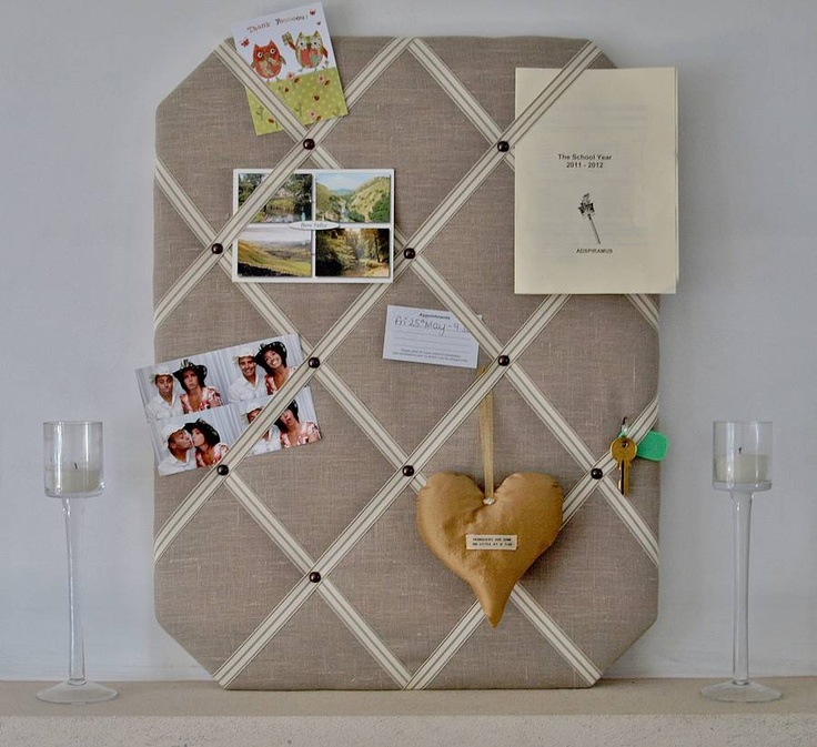 Natural Linen Fabric Notice Board.