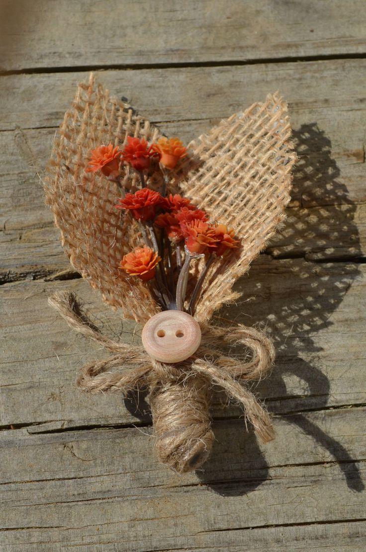 Rustic boutonniere orange flowers and burlap by SplendidEvents, $6.00