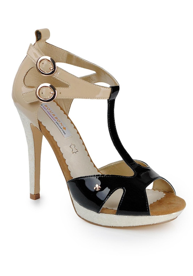Bourbon The Amy Huberman Collection T-Bar Sandal, Black and Beige   McElhinneys Online Department Store