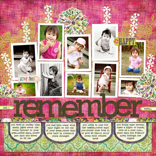 I just like everything about this layout. Cute journaling, brigh colors, solid title. From Write Click Scrapbook.