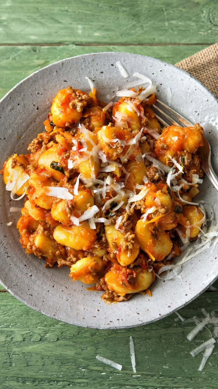 Gnocchi Bolognese with Fresh Tomato Sauce, Carrots, and Parmesan Cheese…