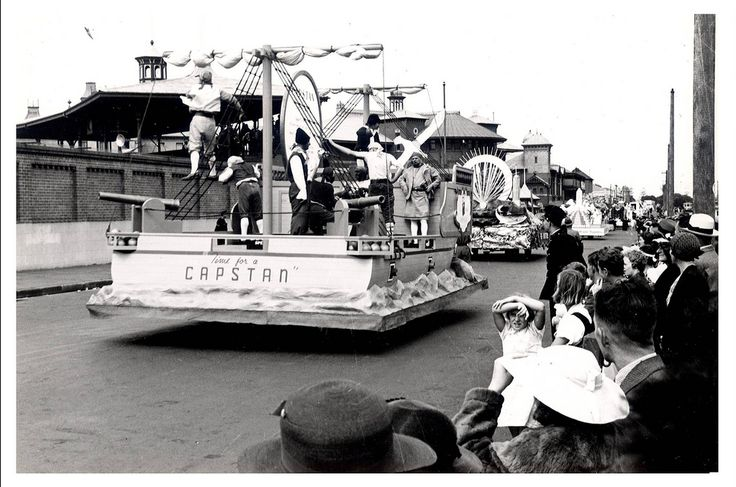 """Image 21806142 - The Capstan float, which formed part of the """"Australia's March to Nationhood"""" parade on January 26th, 1938. This image was taken in Driver Avenue, Moore Park. """"Time for a Capstan"""" can be seen on the rear of the float. [RAHS Australia Day 1938 - Sesquicentenary Celebrations Collection]"""