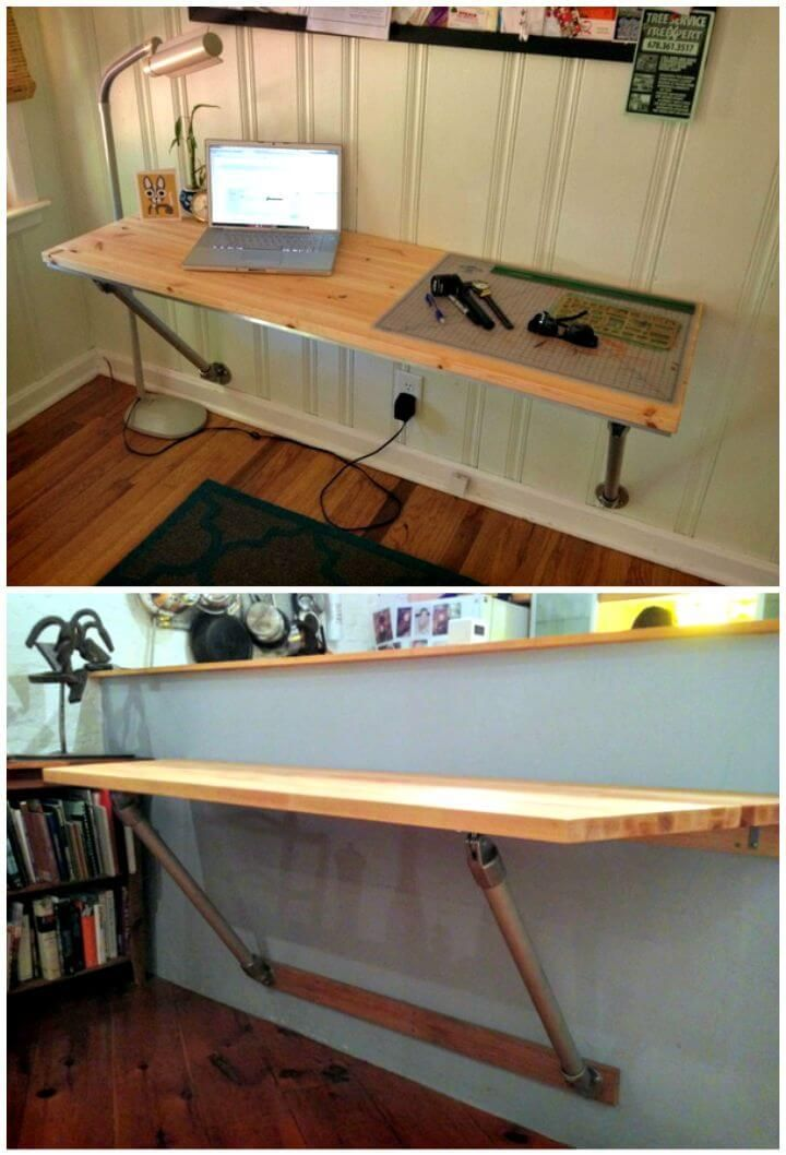 Diy Wall Mounted Desk With Angled Supports Tutorial Diy Desk Plans Top 44 Diy Desk Ideas You Can Make Easily Diy Standing Desk Diy Desk Plans Desk Plans