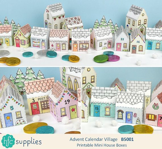 Printable Advent Calendar Village, mini house boxes to print, colour in and make up yourself - Digital Instant Download B5001  Hours of fun for children to colour, then look forward to finding little gifts in the boxes throughout advent! Christmas Crafts, Christmas printable.