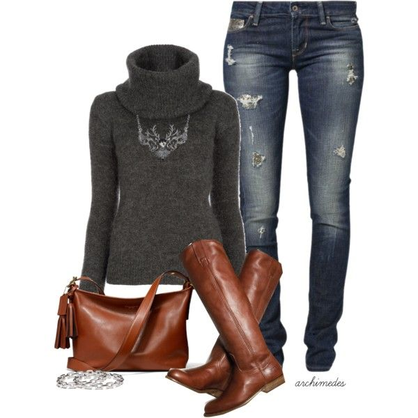 Fall Outfit: Sweater, Idea, Fashion, Style, Walk In, Bag, Fall Outfits, Winter Outfits, Boots