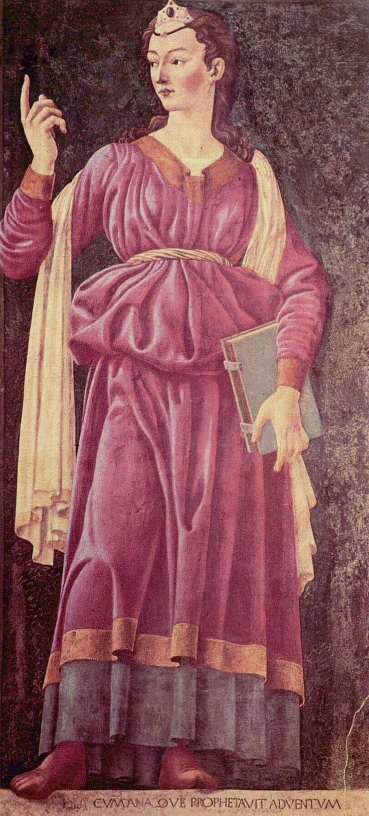 Cumaean Sibyl by Andrea del Castagno. Castagno schilde 9 beroemde personen in fresco's in een villa buiten Florence in 1450, de modellen hiervoor waren onder meer beelden van Donatello