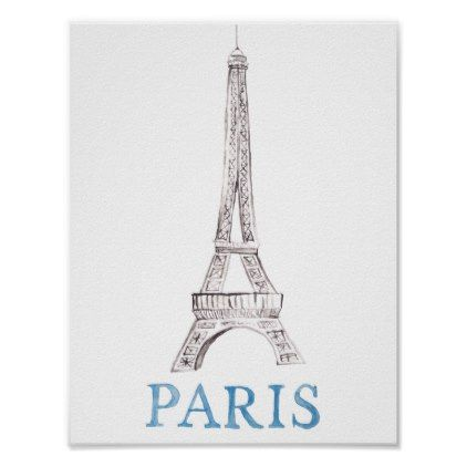 Eiffel Tower Paris French Watercolor Doodle Art Poster - watercolor gifts style unique ideas diy