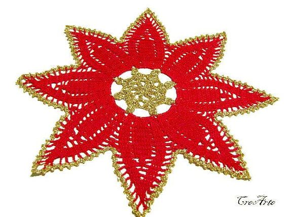 Red Crochet Christmas Doily Red and Gold Doily Table