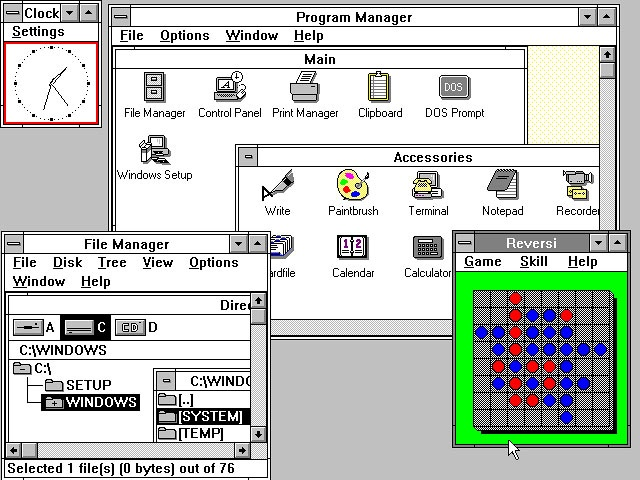 This is Windows 3.0, based on MS-DOS, with what looks like a functional user interface. I can't help but contrast this with Windows 8 : Design over Usability