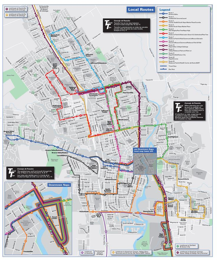 Napa Bus Routes and Schedules and Trip Planner - route map for vine transit route number 1