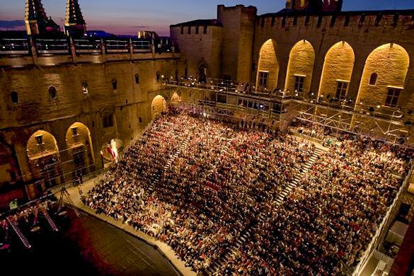Avignon, France, during its theater festival in July!