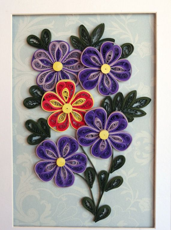 Quilling PurpleOrangeYellow Flowers by QuillingByBetty on Etsy, $44.95