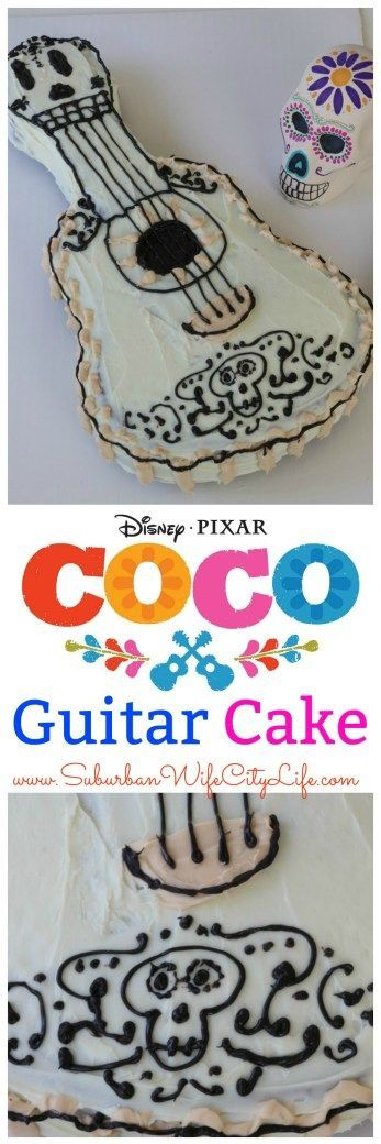 Disney Pixar Coco Guitar Cake Great for a Day of the Dead Party or Coco Birthday Party  #PixarCoco