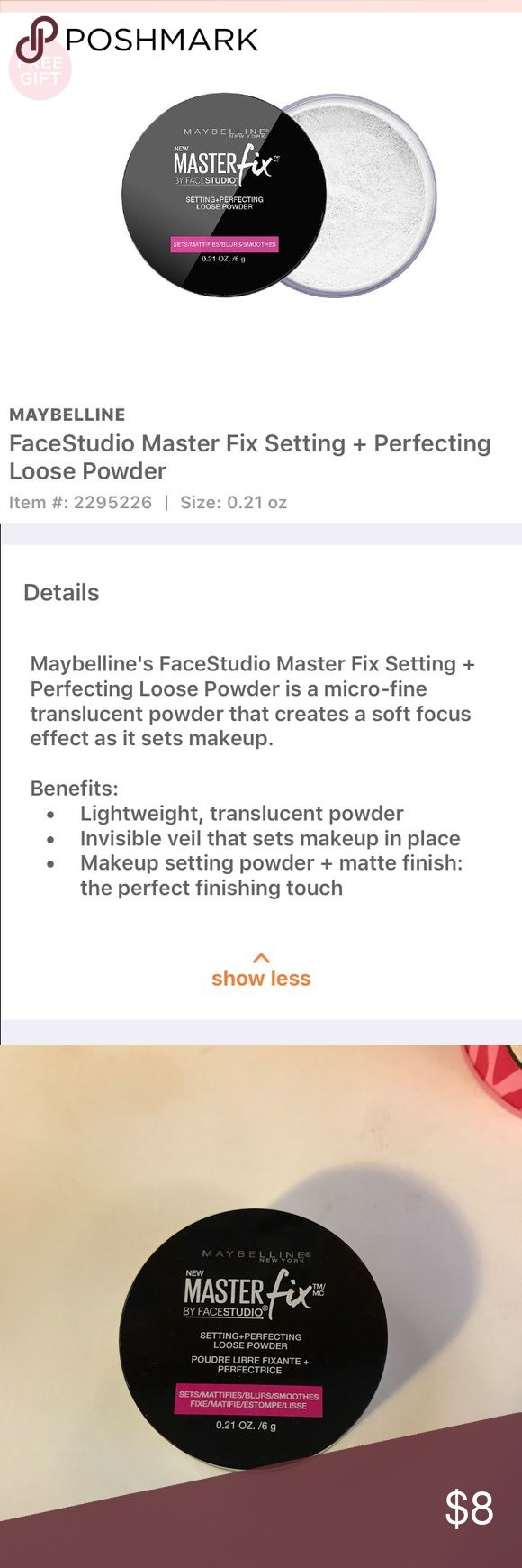 Maybelline Masterfix Translucent Setting & Perfecting loose powder.  Tested small amount once with clean brush and wasn't a fan for my dry skin. Maybelline Makeup Face Powder