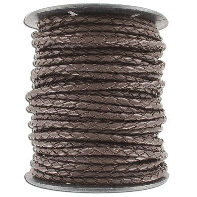 Braided brown leather cord, 4mm diameter, 25 meters. (SKU# TTBR4MM/BRN). Sold per pack of 1 spool(s).