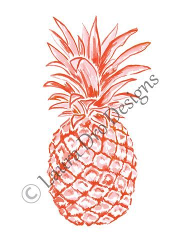 8x10 Pineapple Illustration-Candy Coral