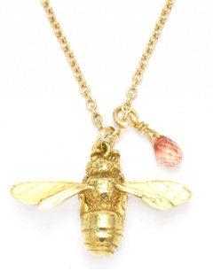 Alex Monroe 'Daisy Bell' honeybee and sapphire gold vermeil necklace