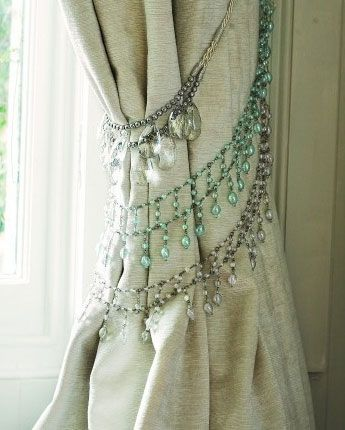 Click Pic for 50 DIY Home Decor Ideas on a Budget - Old Rhinestone Necklaces make great Curtain Ties - DIY Crafts for the Home