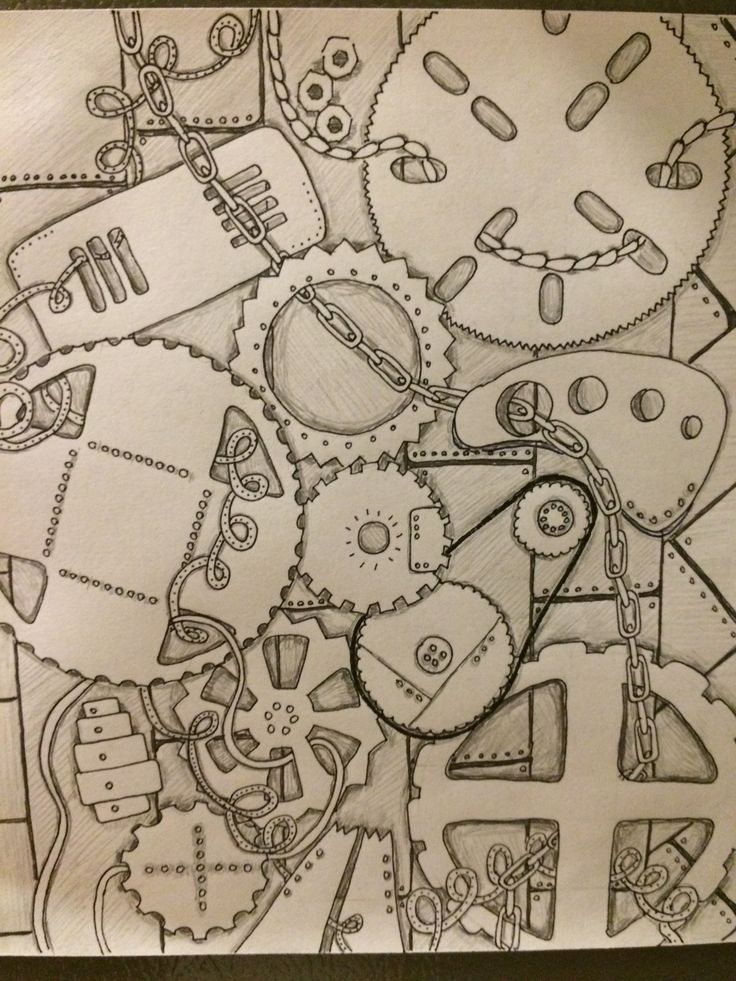 Mechanical zentangle; steampunk zentangle; original doodle by Laura Dotson.