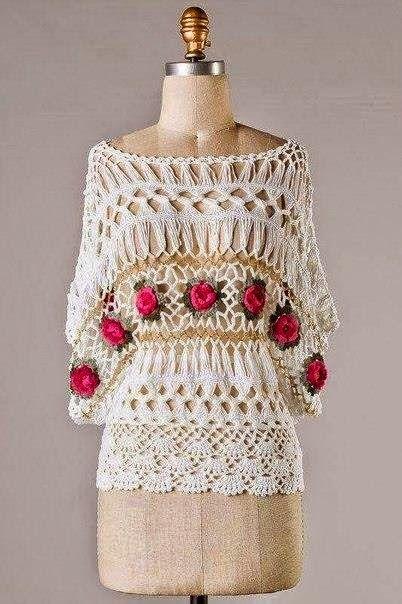 Crochet y dos agujas: Blusa elegante tejida al crochet y horquilla