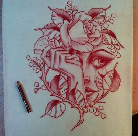 Rose | Blüte | Blatt | Stängel | Frau | Frauengesicht | Gesicht | Face | Woman | Girl | Blume | Hand | Tattoo | Tattoovorlage | Vorlage | Skizze |