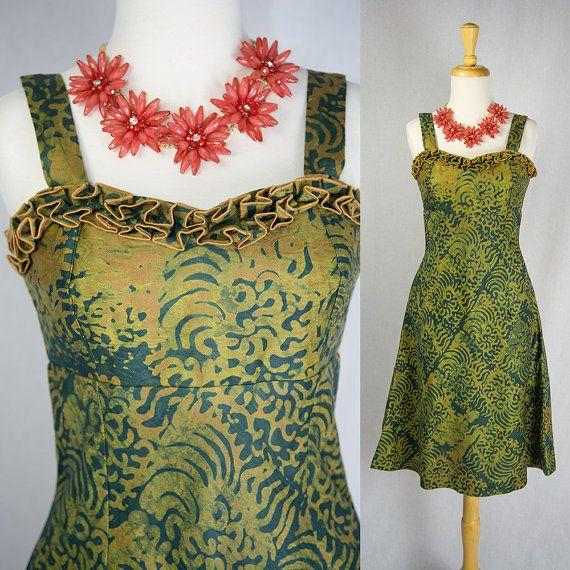 Tiki Vintage Pin Up soleil robe volants Batik beau buste impression Sundress hawaïen