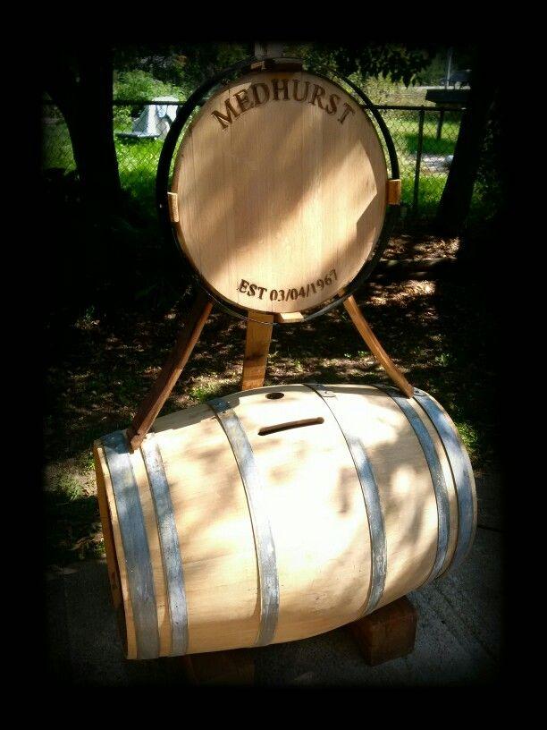 Retired wine barrel card holder for weddings