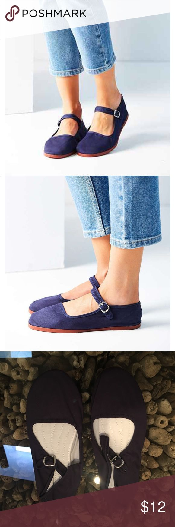 Urban Outfitters - Cotton Mary Jane - Navy. NWT NWT.  Basic Mary Jane. Urban Outfitters Shoes Flats & Loafers