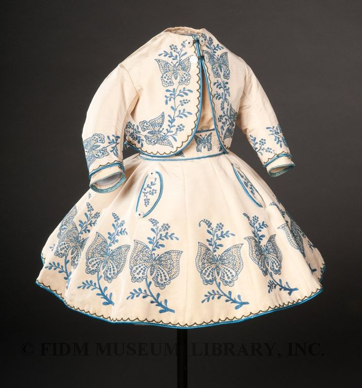Girl's ensemble  c. 1865  Silk faille, cotton embroidery floss & mother-of-pearl - holy cow, what mother would ever put her child in this? Stunning, but not childproof, lol!
